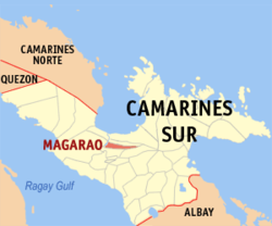 Map of Camarines Sur showing the location of Magarao