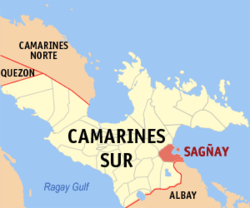 Map of Camarines Sur showing the location of Sagñay