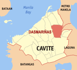 Map of Cavite showing the location of Dasmariñas.
