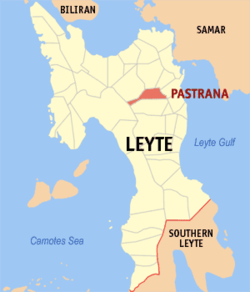 Map of Leyte with Pastrana highlighted