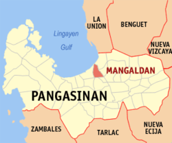Map of Pangasinan with Mangaldan highlighted