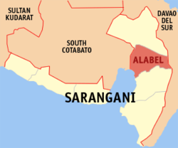 Map of Sarangani showing the location of Alabel.