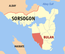 Map of Sorsogon with Bulan highlighted