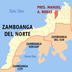Map of Zamboanga del Norte highlighting M. A. Roxas