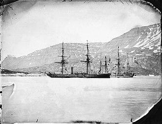 HMS Phoenix (1832) - Phoenix together with Diligence at Qeqertarsuaq in Greenland, in 1854