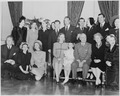Photograph of movie stars posing with President Truman and his family at the White House, (front row, left to right)... - NARA - 199330.tif