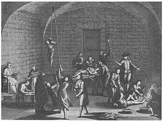 Interrogation - Inquisition torture chamber. Mémoires Historiques (1716)