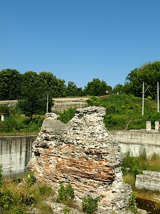 Iron Gates Region Museum - The ancient ruin of a pier of Trajan's Bridge on the Romanian shore of the Danube, in the immediate vicinity of the Museum.