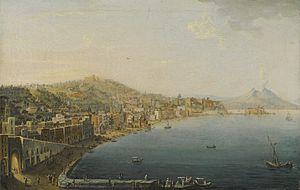 Pietro Antoniani - View of the shoreline of Chiaia from the convent of San Antonio.