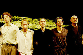 Pina Bausch - Pina Bausch (center) and Dominique Mercy (second from left) at the end of Wiesenland in 2009 in Paris.
