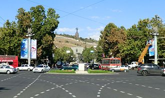 Place de France with the statue of Jules Bastien-Lepage by Auguste Rodin at the centre are among the symbols featuring the partnership between Yerevan and Paris Place de France, Yerevan (cropped).jpg