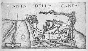 Cretan War (1645–1669) - Map of Canea (Chania) and its fortifications, 1651.