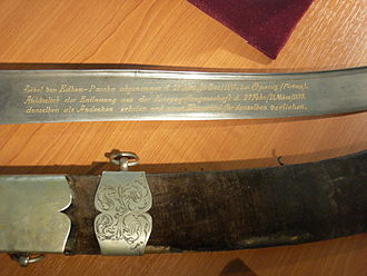 Siege of Plevna - Sword surrendered by Edhem Pasha after the defeat at Plevna.