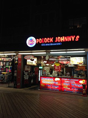 Culture of Baltimore - A Polock Johnny franchise at one of its locations on the Boardwalk, Ocean City, Maryland.