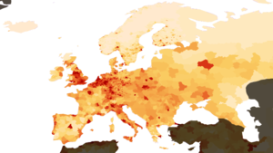 Blue Banana - Population density in Europe, showing the highest density along the Blue Banana