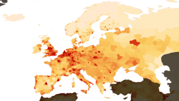 Densidad de población en el corredor Blue Banana (Fuente: https://upload.wikimedia.org/wikipedia/commons/thumb/0/02/Population_density_Europe.png/350px-Population_density_Europe.png)
