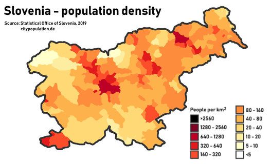 Population density in Slovenia by municipality. The four main urban areas are visible: Ljubljana and Kranj (center), Maribor (northeast) and the Slovene Istria (southwest). Population density in Slovenia.png