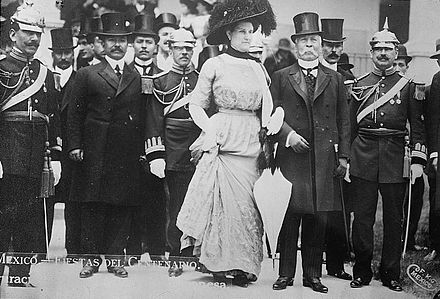Porfirio Diaz and his second wife Carmen Romero Rubio photographed with others celebrating the centennial of Mexican independence in 1910 Porforio Diaz.jpg
