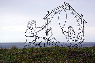 An artistic depiction of the Maritime Archaic culture, at the Port au Choix Archaeological Site. The Maritime Archaic peoples were the first to settle Newfoundland. Port au Choix Artwork.jpg