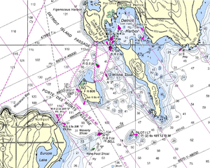 "Porte des Morts - ""Closer detail of NOAA Chart"""