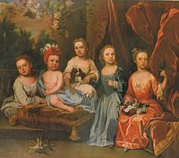 Portrait Group of the Smith Children on a Terrace with a Spaniel, Basket of Flowers and a Parakeet (c 1718) by James Maubert.jpg