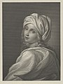 Portrait of Beatrice Cenci in bust-length, turning to face outwards with a cloth wrapped around her head, after Reni MET DP841473.jpg