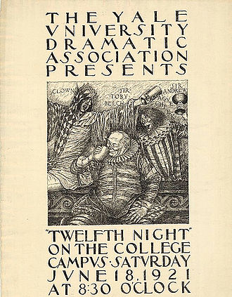 Yale Dramatic Association - Poster for William Shakespeare's Twelfth Night, performed by the Yale Dramatic Association, 1921