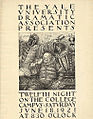 Poster for Twelfth Night William Shakespeare Yale University Dramatic Association.jpg