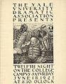 Poster for Twelfth Night William Shakespeare Yale University Dramatic Association.jpg