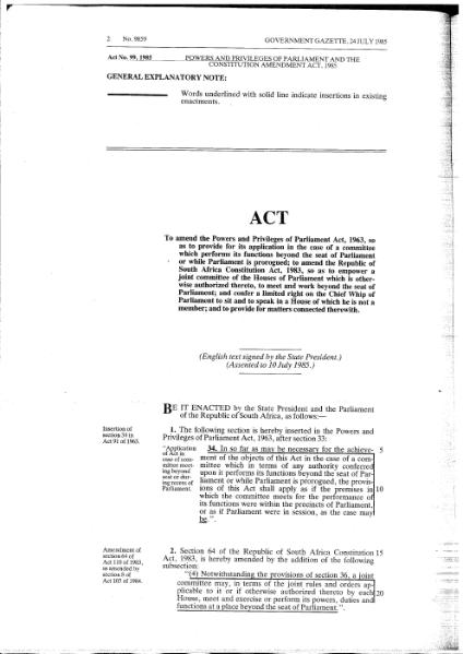 File:Powers and Privileges of Parliament and the Constitution Amendment Act 1985.djvu