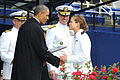 President Barack Obama shakes hands with a graduate of the U.S. Naval Academy during the school's 2013 graduation and commissioning ceremony May 24, 2013, at Navy-Marine Corps Memorial Stadium in Annapolis 130524-N-GK053-730.jpg