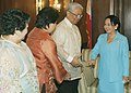 President Gloria Macapagal-Arroyo beams as she welcomes Philippine Ambassador to Ottawa, Canada Jose Brillantes, Philippine Consul General to New York Cecilia Rebong, and Philippine Consul General to Vancouver, Canada Ruth Prado.jpg