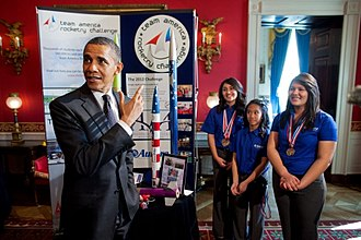 Team America Rocketry Challenge - President Obama meets with Team America Rocketry Challenge team members from Presidio, Texas in 2012 White House Science Fair.
