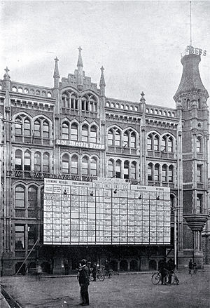 The Press Building, Christchurch - The results of the 1919 general election displayed outside The Press Building