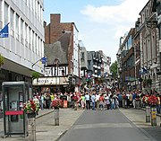 Shrewsbury's town centre contains the Darwin, Pride Hill and Riverside shopping centres, as well as more traditional historic retail areas.