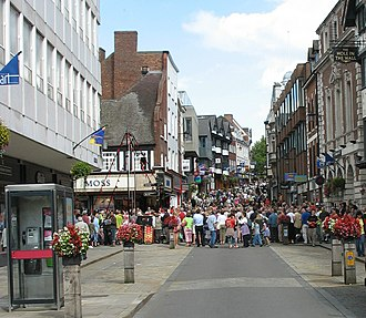 Shrewsbury's town centre contains the Darwin, Pride Hill and Riverside shopping centres, as well as more traditional historic retail areas. PridehillCB.jpg
