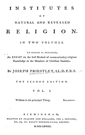 Joseph Priestley and education - Title page from the second edition of Institutes of Natural and Revealed Religion