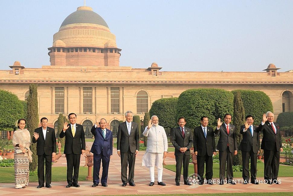 Prime Minister Narendra Modi and ASEAN heads of state and government at the Rashtrapati Bhavan in New Delhi