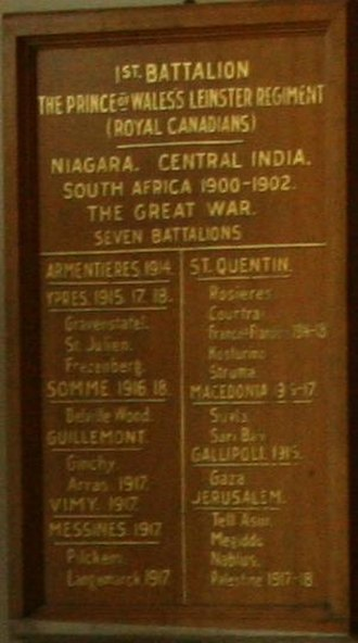 Prince of Wales's Leinster Regiment (Royal Canadians) - Prince of Wales's Leinster Regiment plaque at the Royal Military College of Canada Senior Staff Mess, enumerating the locations of service.