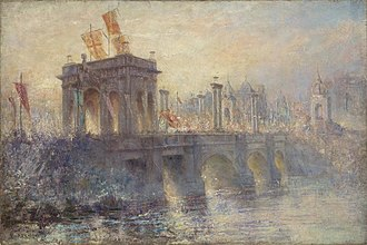 Federation celebrations at Princes Bridge Princes Bridge Frederick McCubbin.jpg