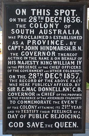 The Old Gum Tree - Plaque from 1857 celebrating the 21st anniversary of Proclamation Day at the site