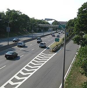 New York State Route 27 - The Prospect Expressway at exit 3 as seen from Prospect Park West in Brooklyn