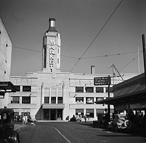 Portland Public Market - The original Portland Public Market building, with an eleven-story entryway tower in 1936