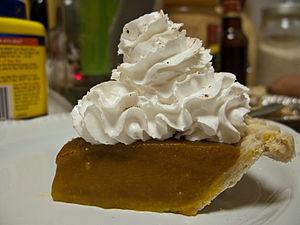 Pumpkin pie with lots of whipped cream at Jess...