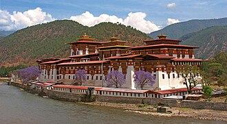 Punakha Dzong - Pungtang Dechen Photrang Dzong at Punakha and Jacaranda trees