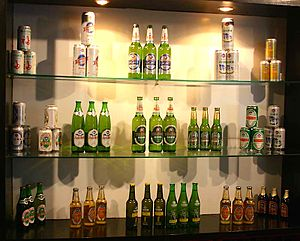 Tsingtao Brewery - Past packaging of Tsingtao Beer in a display at the Qingdao Beer Museum.