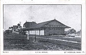 Qu'Appelle, Saskatchewan - Qu'Appelle CPR station before 1910.