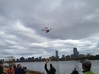 Quadcopter - A quadcopter being recovered after photographing the Head of the Charles regatta in Cambridge, Massachusetts.