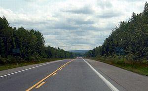 Quebec Route 185 - Route 185 southbound, south of Rivière-du-Loup