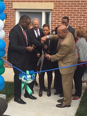 Queen Lane Apartments - Image: Queen Lane Ribbon Cutting December 15th, 2015